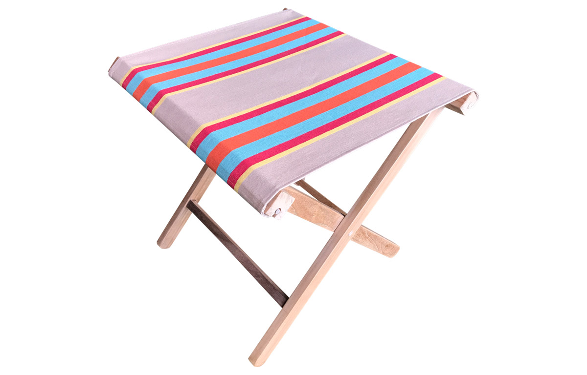 Vintage Look Teak Folding Stool with Fawn, Terracotta, Turquoise Striped Seats