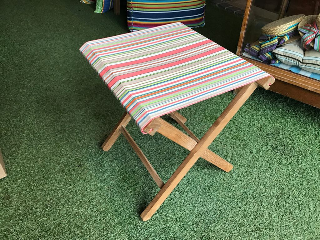 coral, sand, cream - Portable Folding Stools with Striped Seats