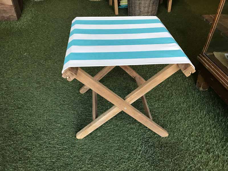 Peachy Turquoise And White Stripe Portable Folding Stool Camellatalisay Diy Chair Ideas Camellatalisaycom