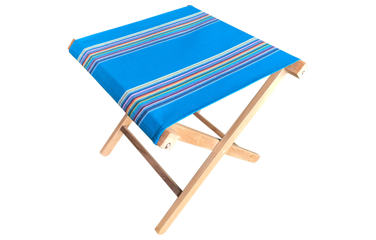 Portable wooden stool with turquoise seat