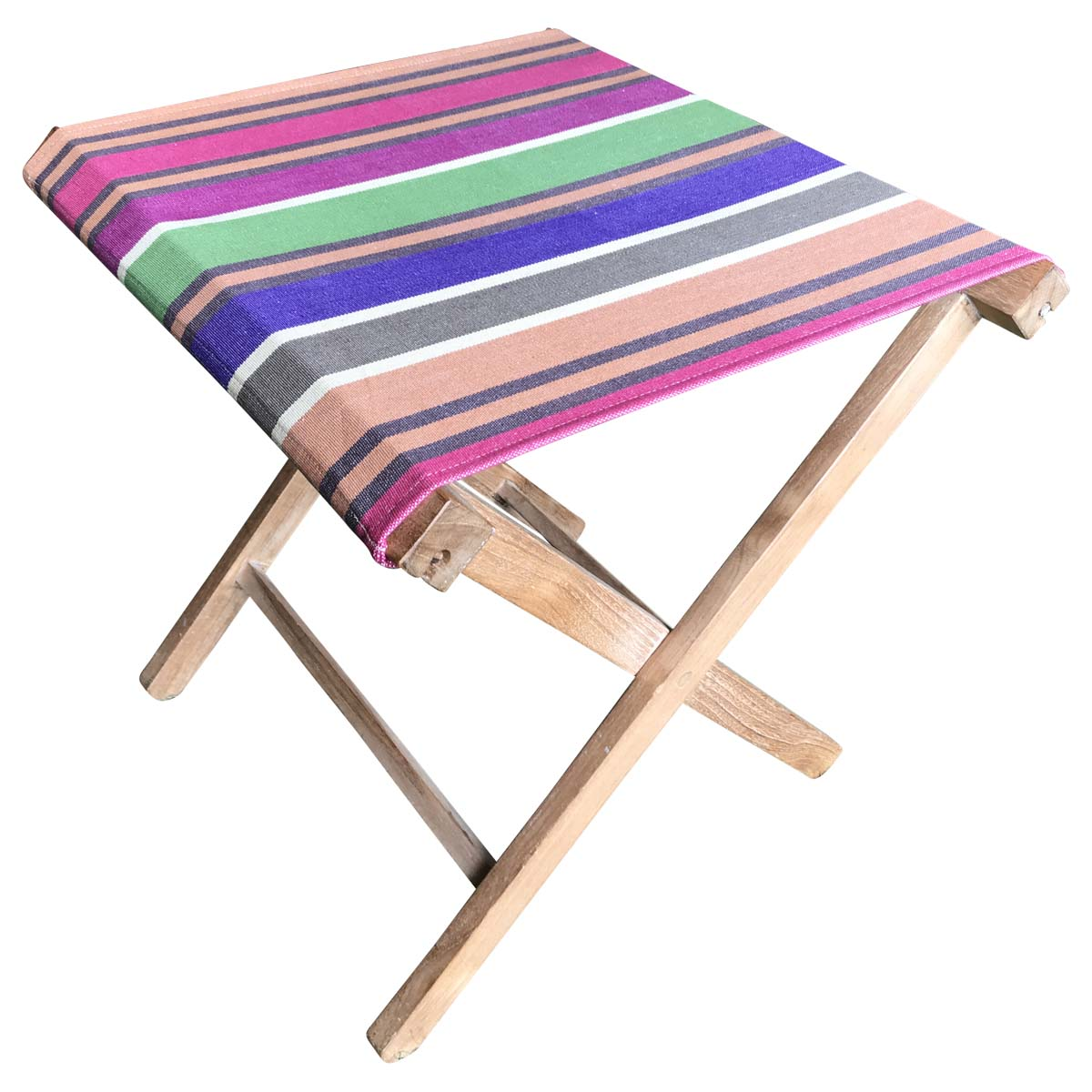 Portable Folding Stools with Striped Seats caramel, beige, purple
