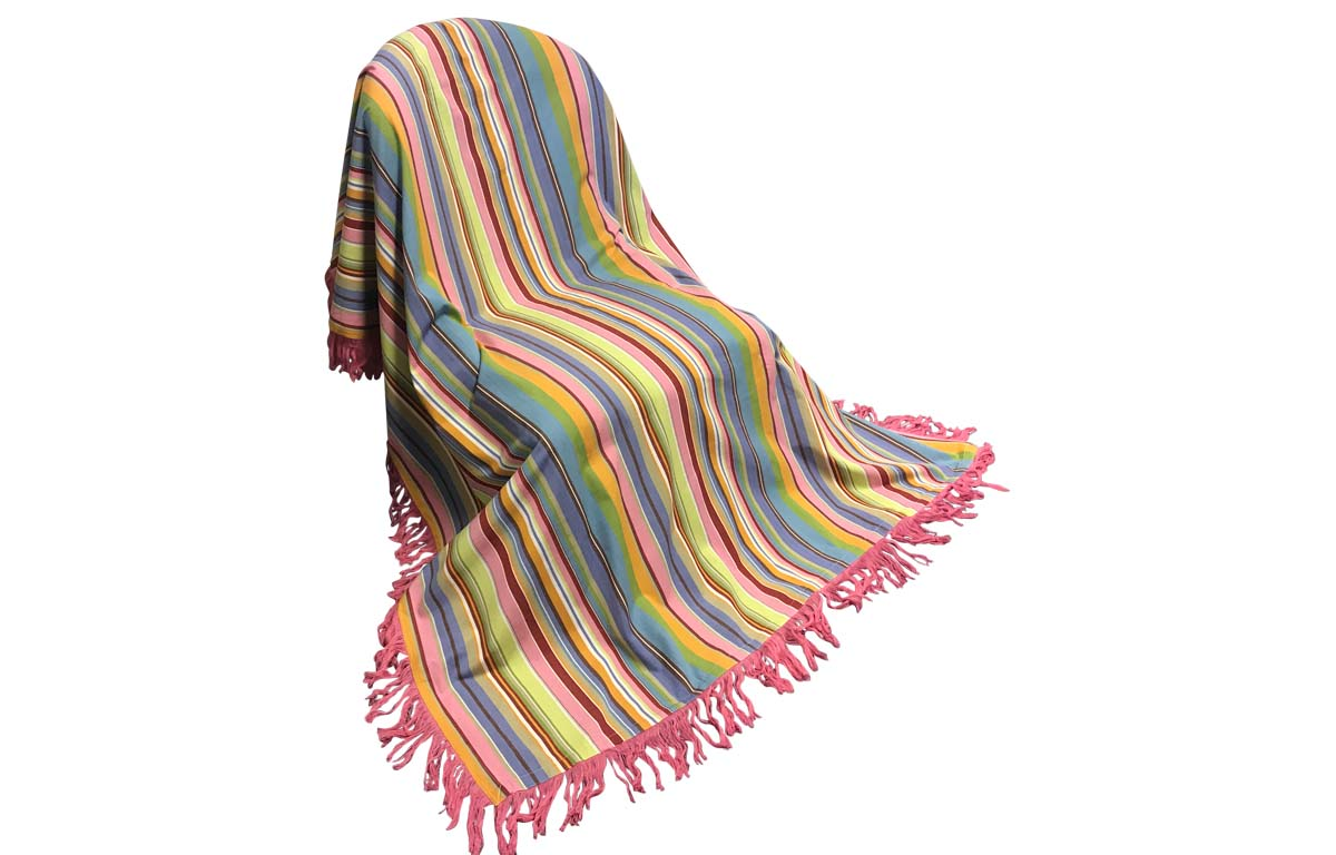 Fringed Cotton Throws | Striped Cotton Throws blue, pink, turquoise