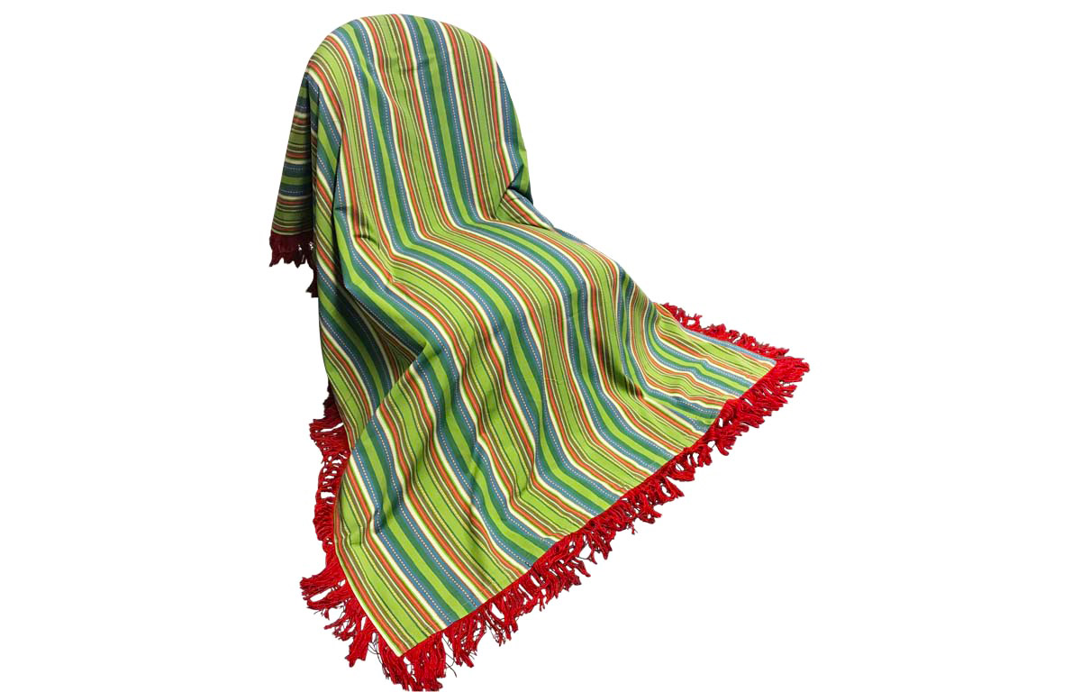 Pretty Green Stripe Fringed Cotton Throw with Red Fringe