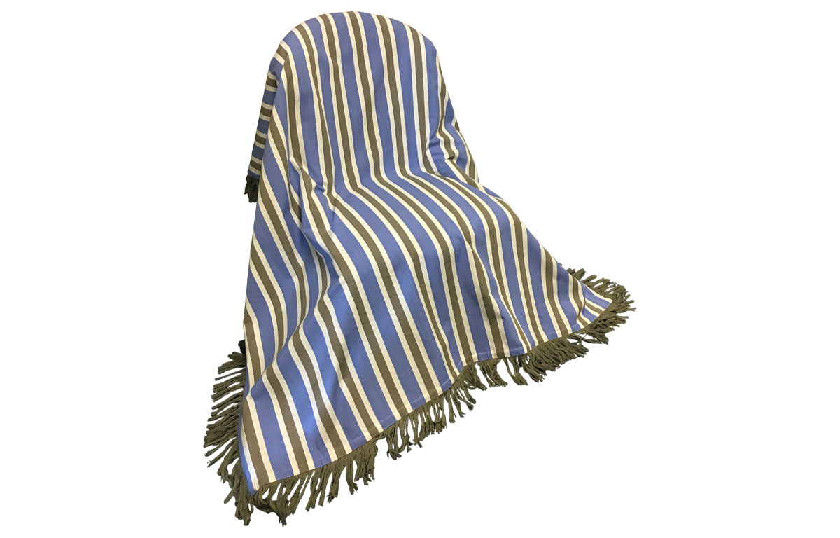 Blue Beige and White Stripe Fringed Cotton Throws with Luxurious Taupe Fringe