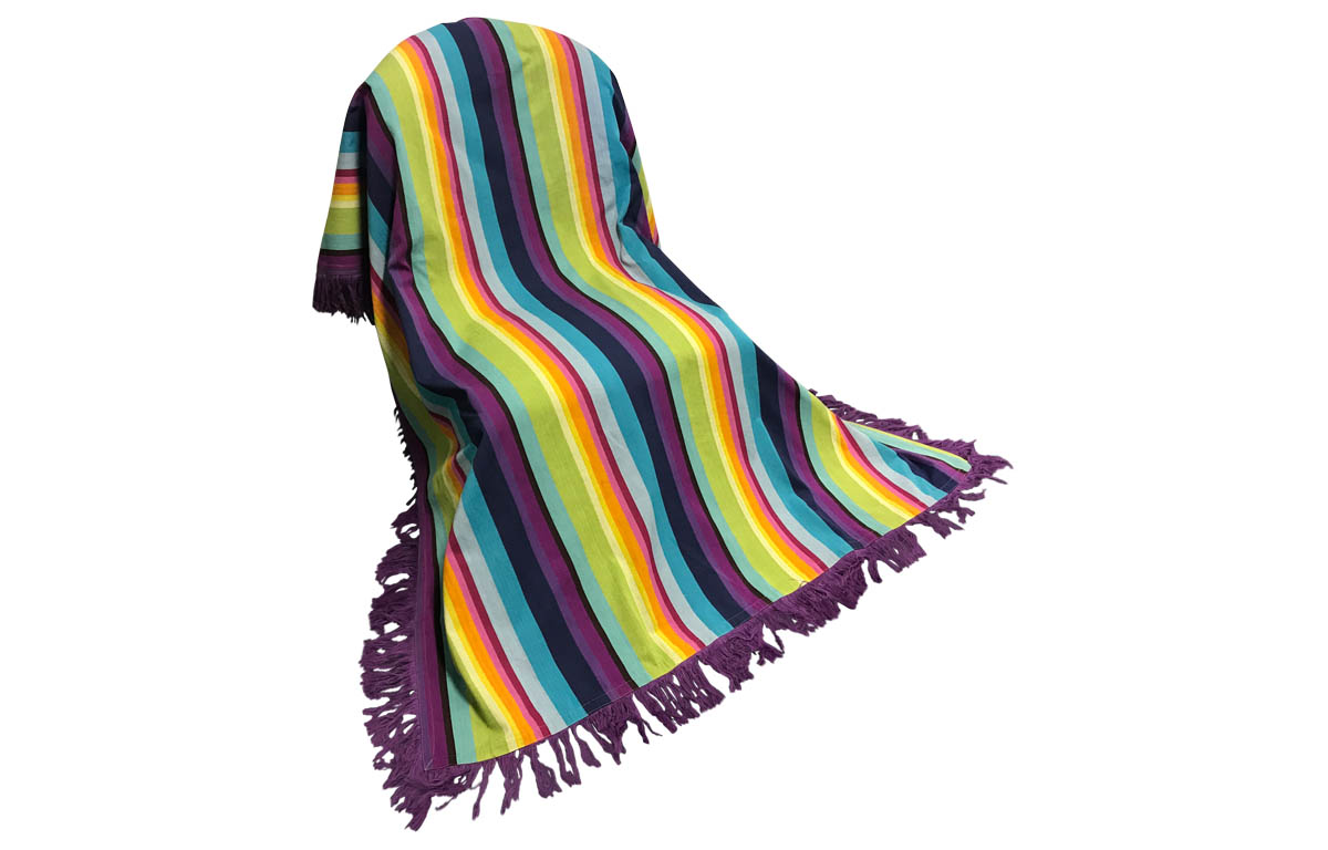 Purple Fringed Cotton Throw in Rainbow Stripes