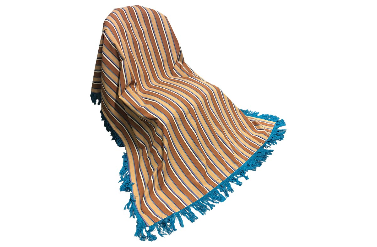 Fringed Cotton Throws | Striped Cotton Throws chestnut, peach, off white