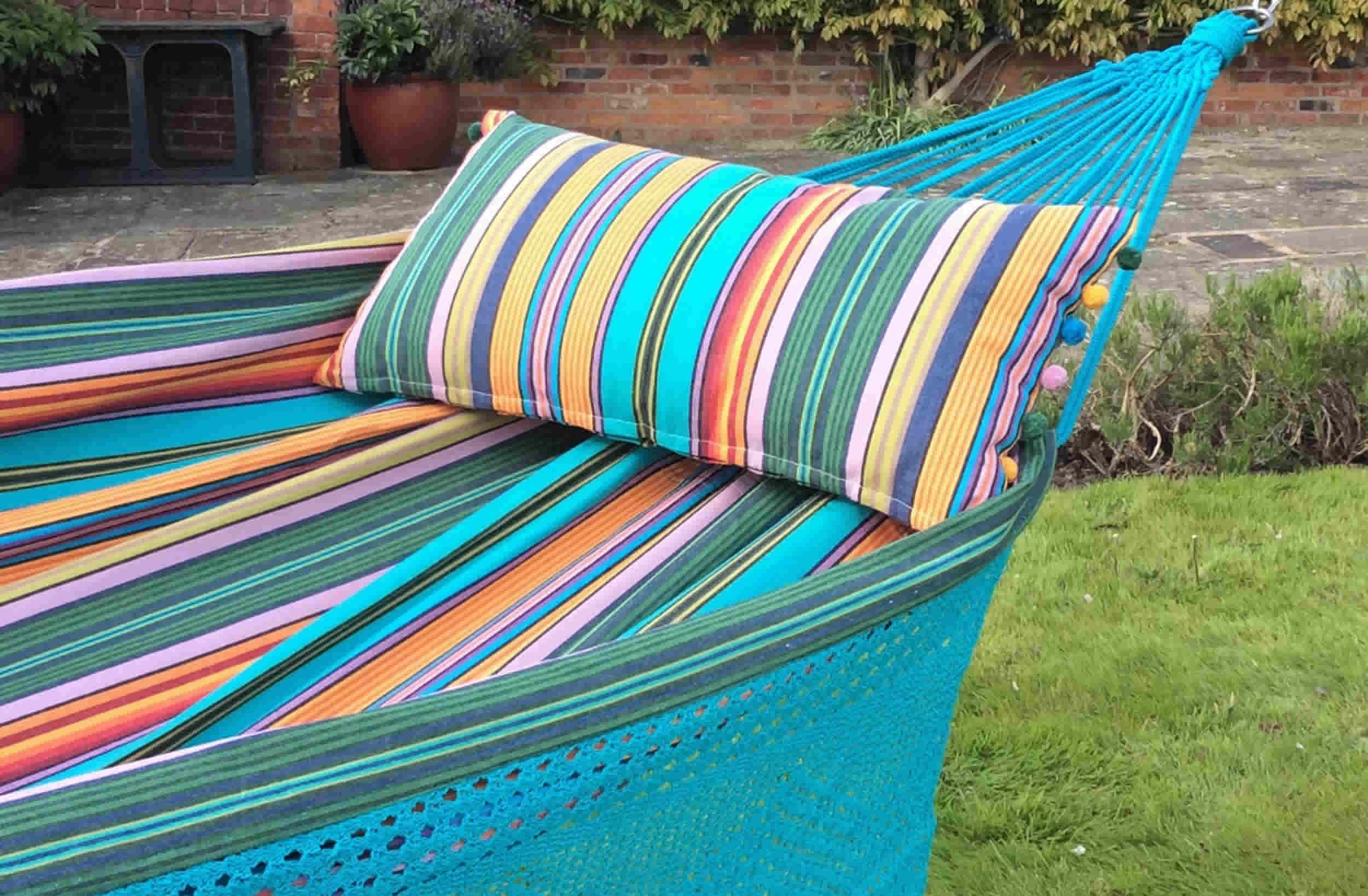 Turquoise Fringed Hammocks | Striped Hammocks with Fringe Diving Stripes