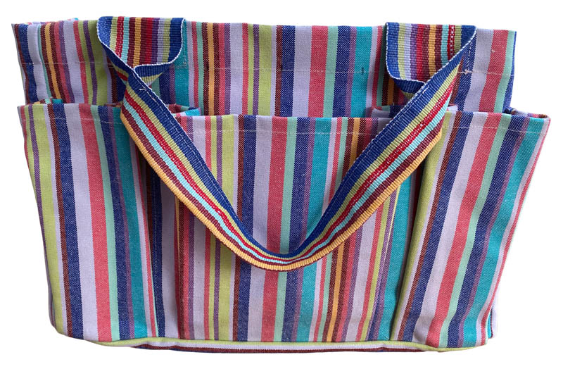 Garden Tool Bag with pockets - Striped Gardening Bag