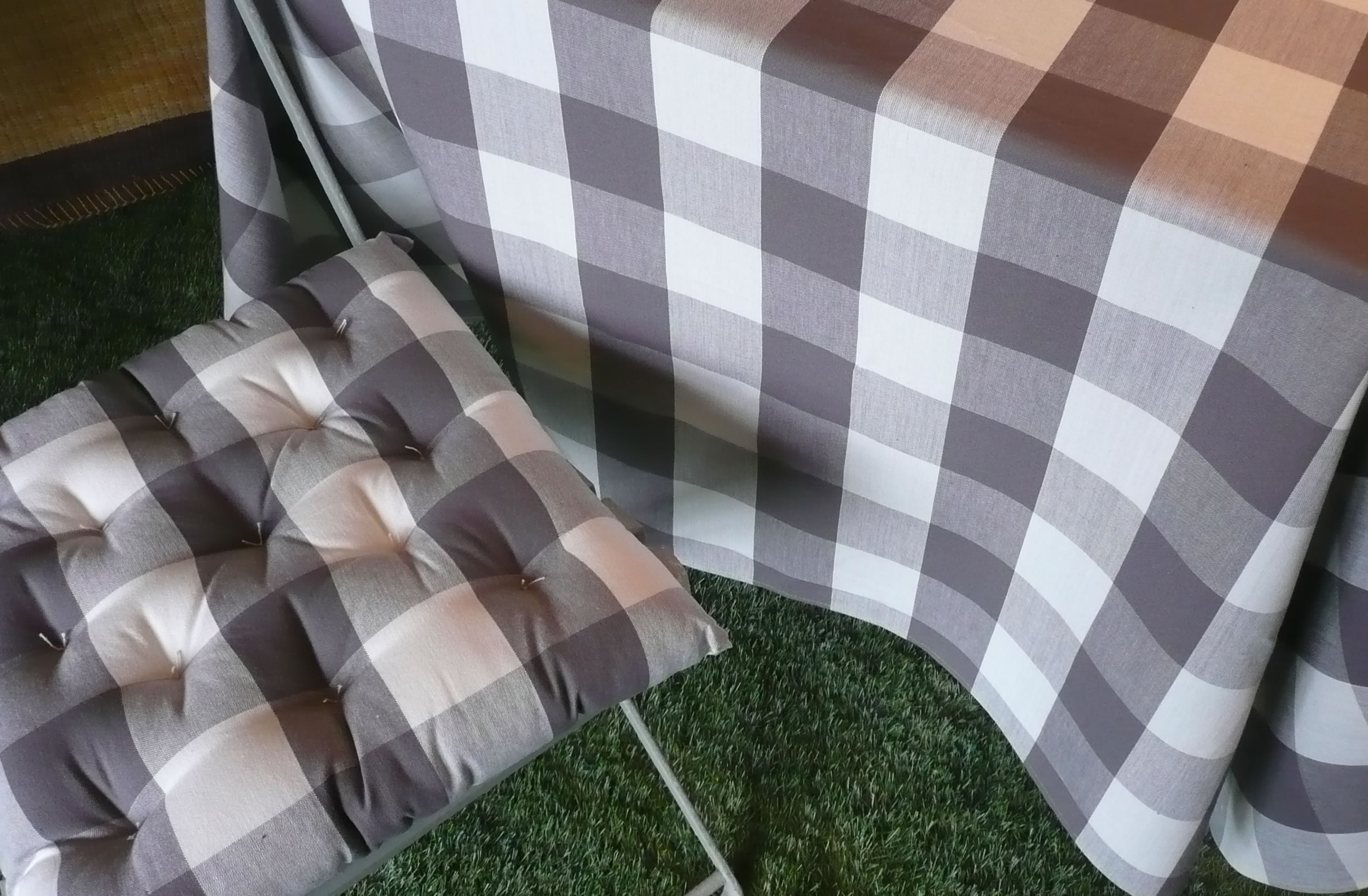 Grey  Gingham Fabrics Large Checks