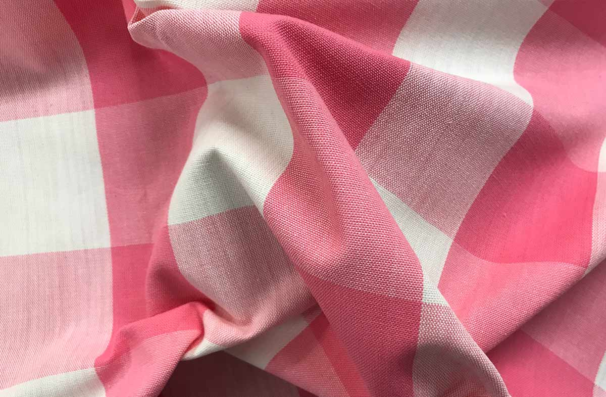 Pink White Gingham Fabric Large Checks