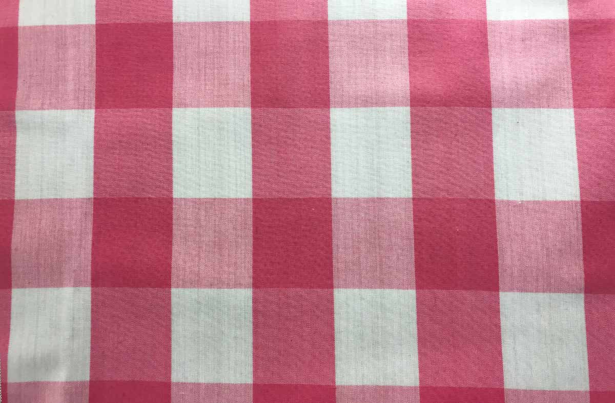 Pink Gingham Oilcloth Fabrics Large Check