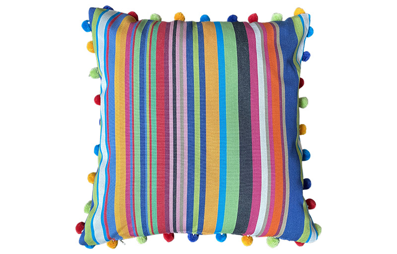 Blue, Green and Pink Stripe Pompom Cushion 40x40cm