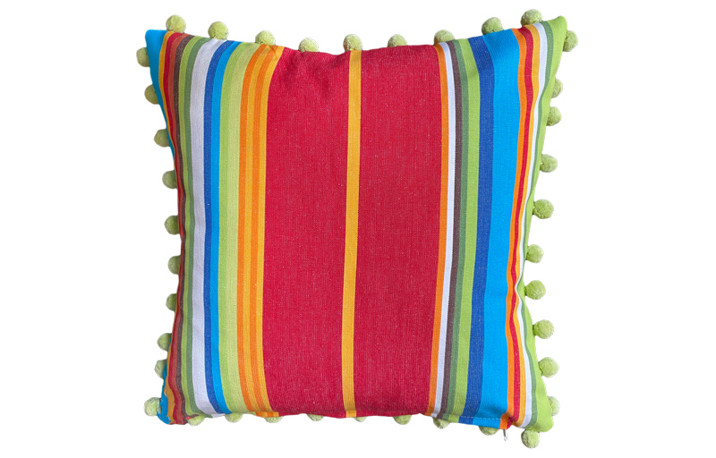 Lime, Turquoise and Red Stripe Pompom Cushion 40x40cm