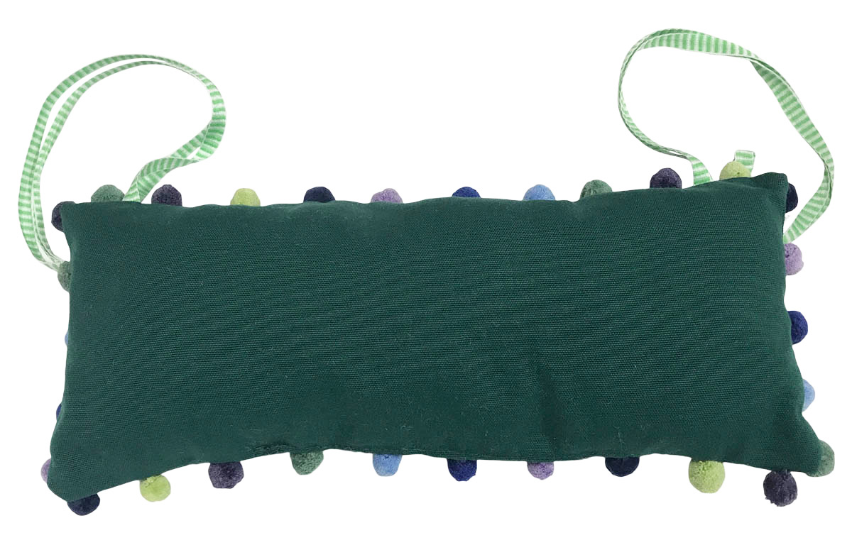 Dark Green Deckchair Headrest Cushions | Green Tie on Pompom Headrest Pillow
