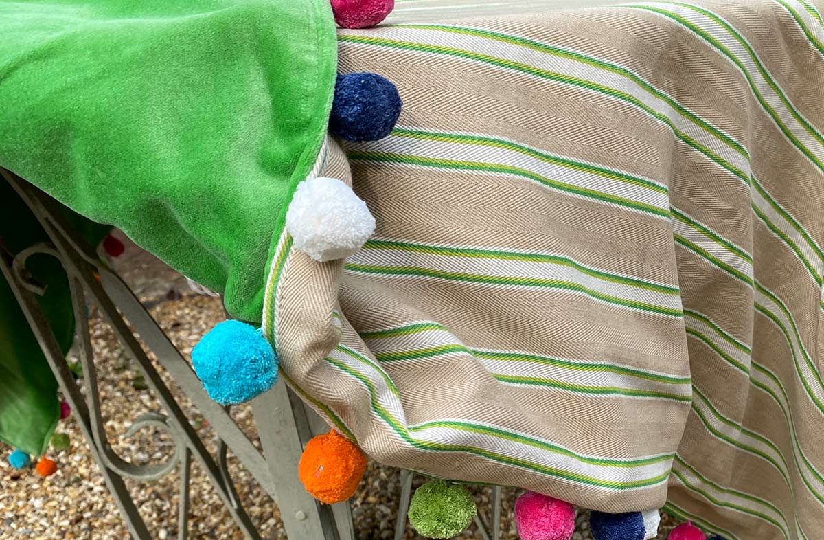 Beige and Green Stripe Pom Pom Throws - Reversible Green Velvet Throw with Pompoms