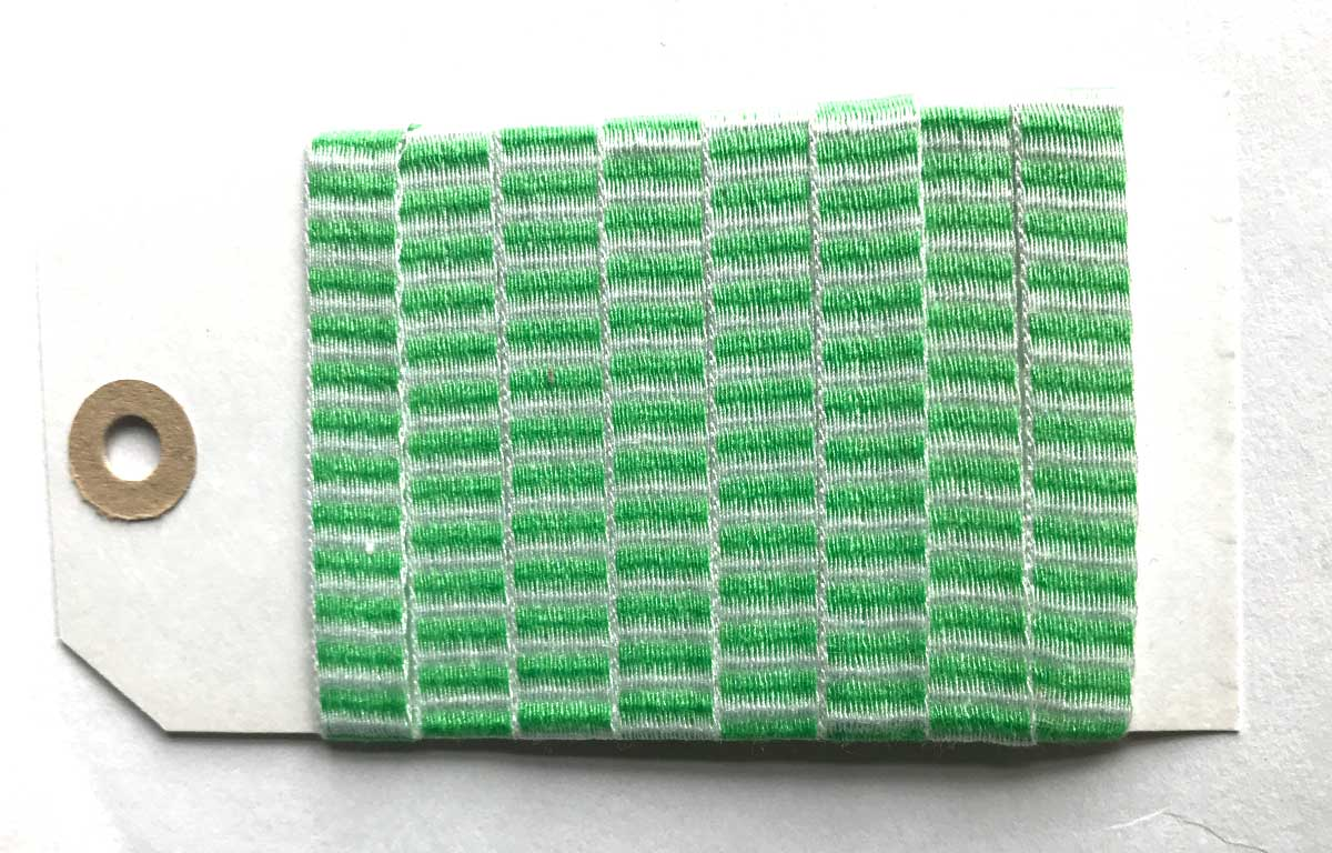 Green and White Striped Woven Cotton Tape