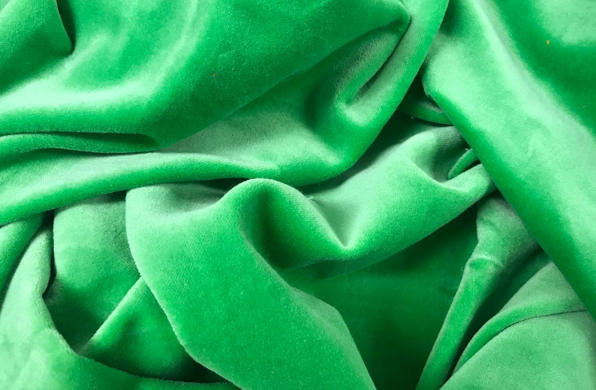 Green Cotton Velvet Fabric | The Stripes Company
