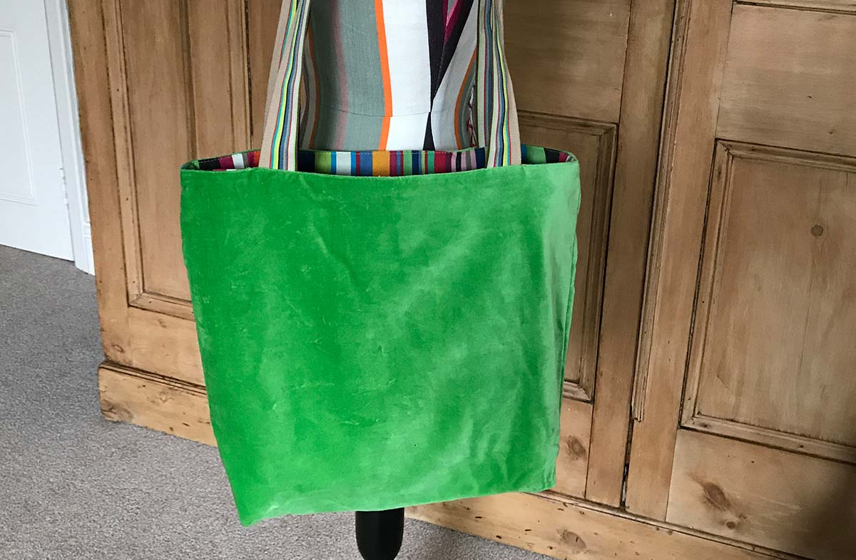 Green Velvet Tote Bag with Reversible Striped Interior