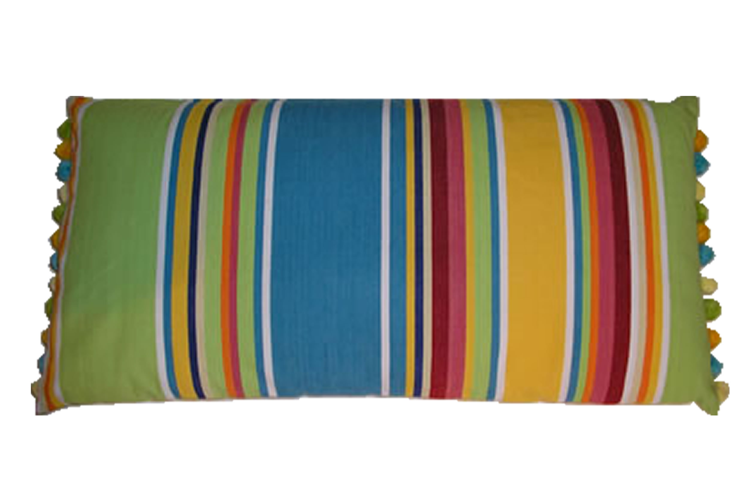 Yellow Striped Oblong Cushions with Bobble Fringe  Cricket Yellow Stripes