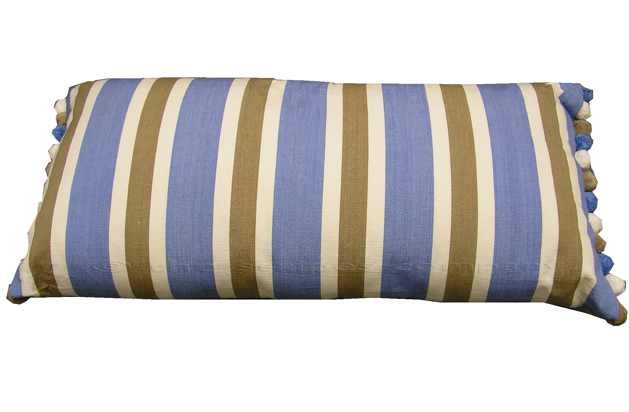 Sky Blue Striped Oblong Cushions with Bobble Fringe  Karate Stripes