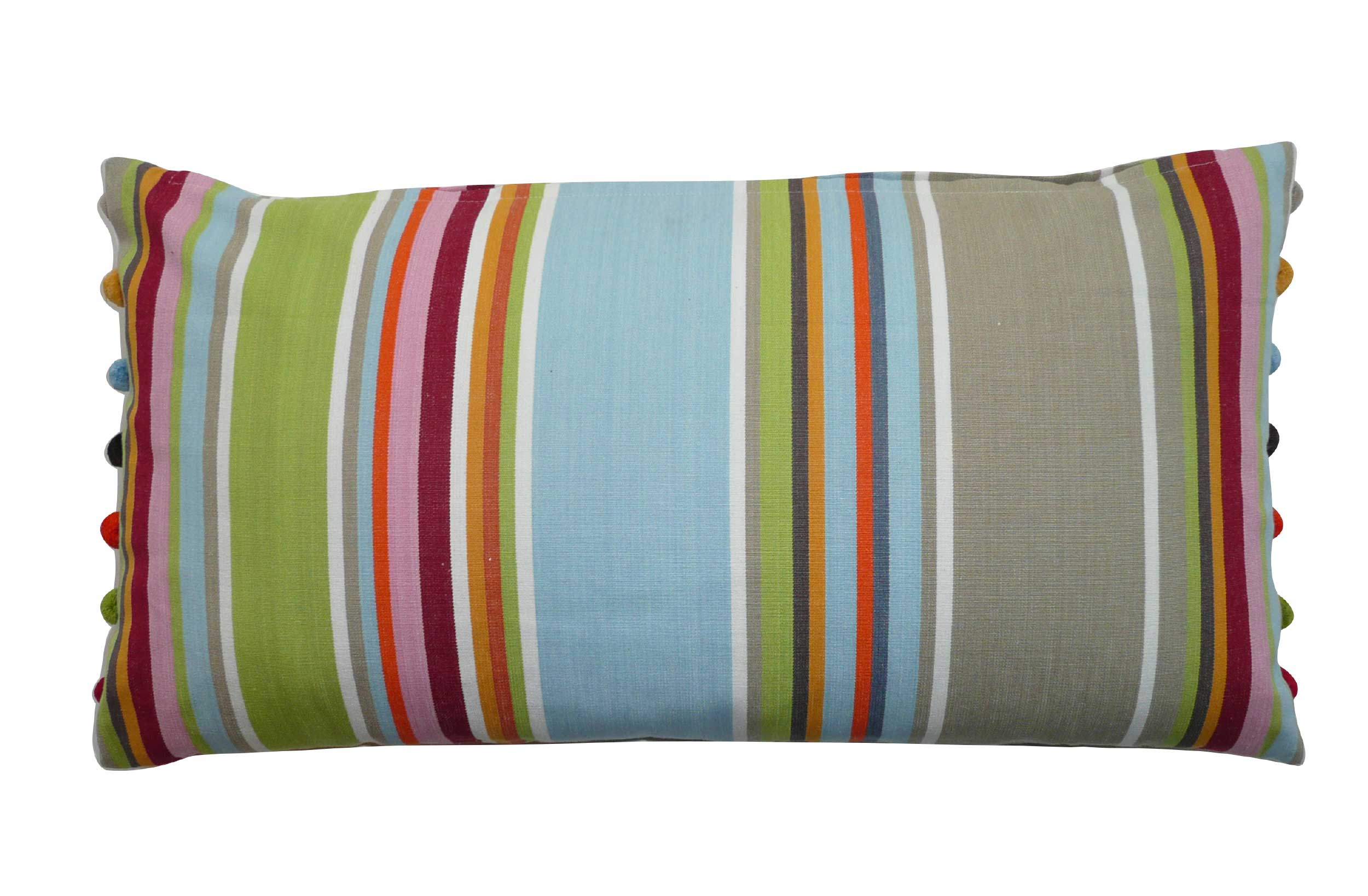 Striped Oblong Cushions with bobble fringe  grey, blue, light green