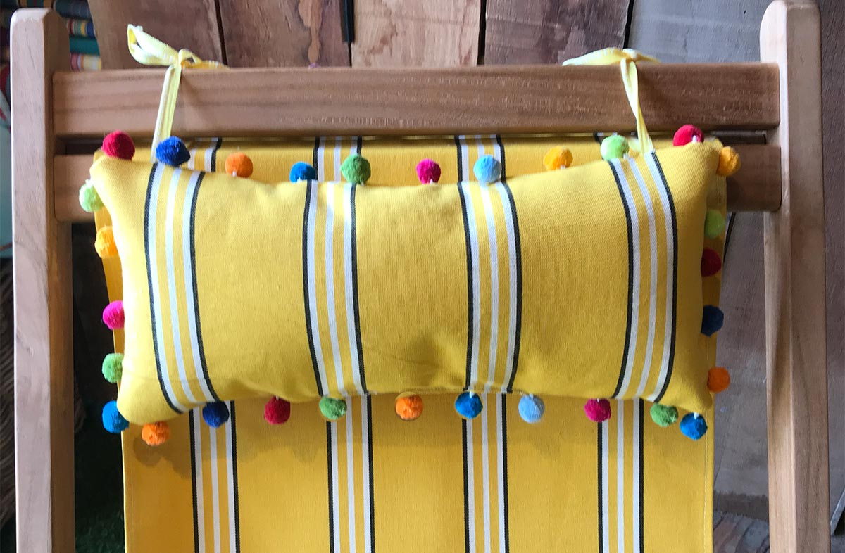 Handball Yellow Deckchair Headrest Cushions | Tie on Pompom Headrest Pillow yellow, white, black