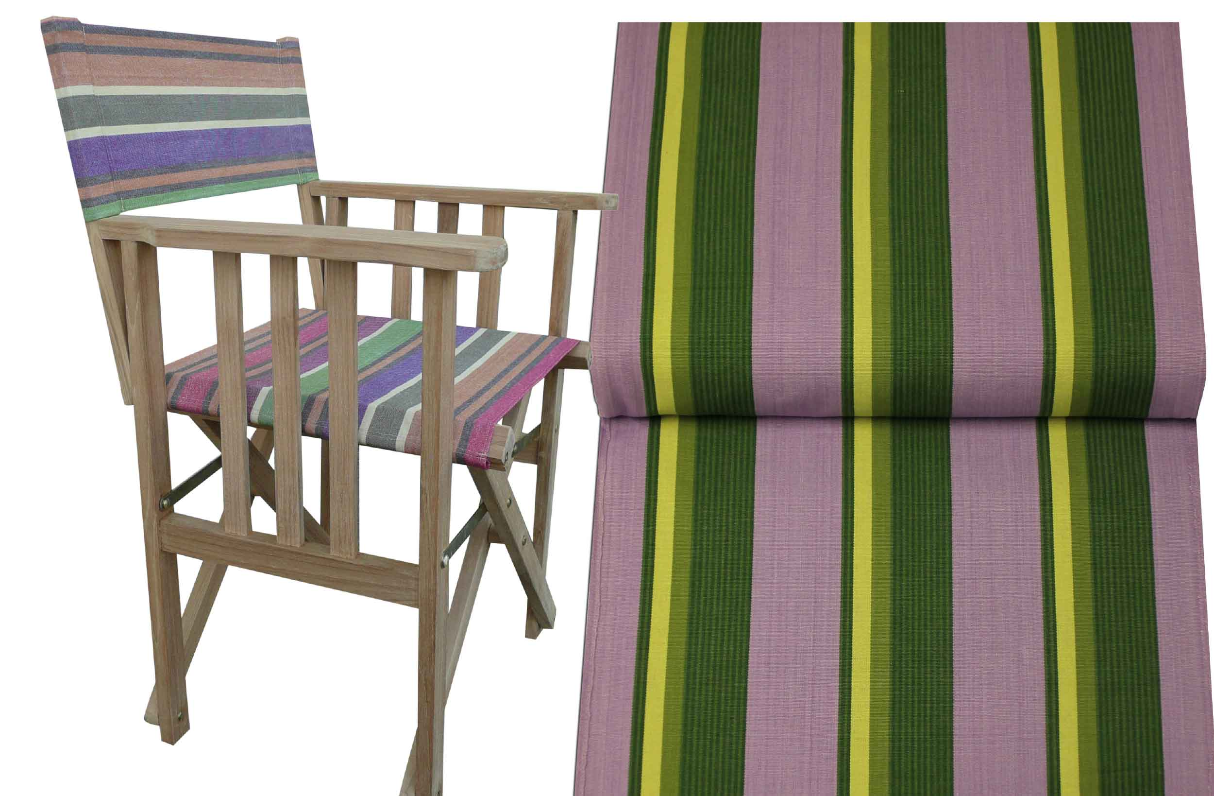 Teak Directors Chair - Hip Hop Stripe
