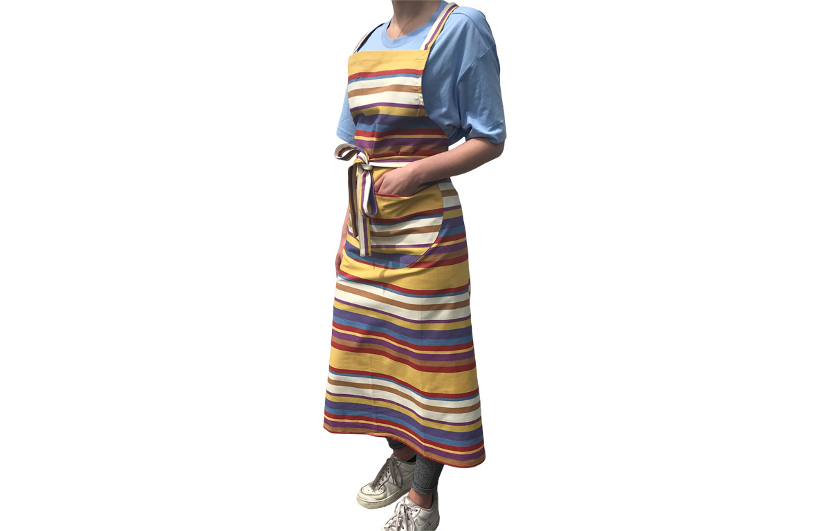 Striped Cotton Aprons apricot, rust, blue