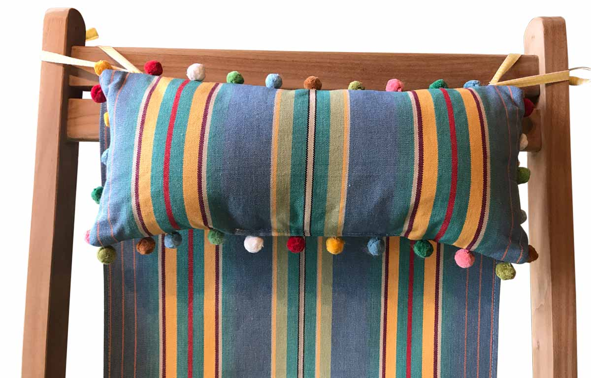 Hula Hoop Deckchair Headrest Cushions | Tie on Pompom Headrest Pillow Sky blue, jade green