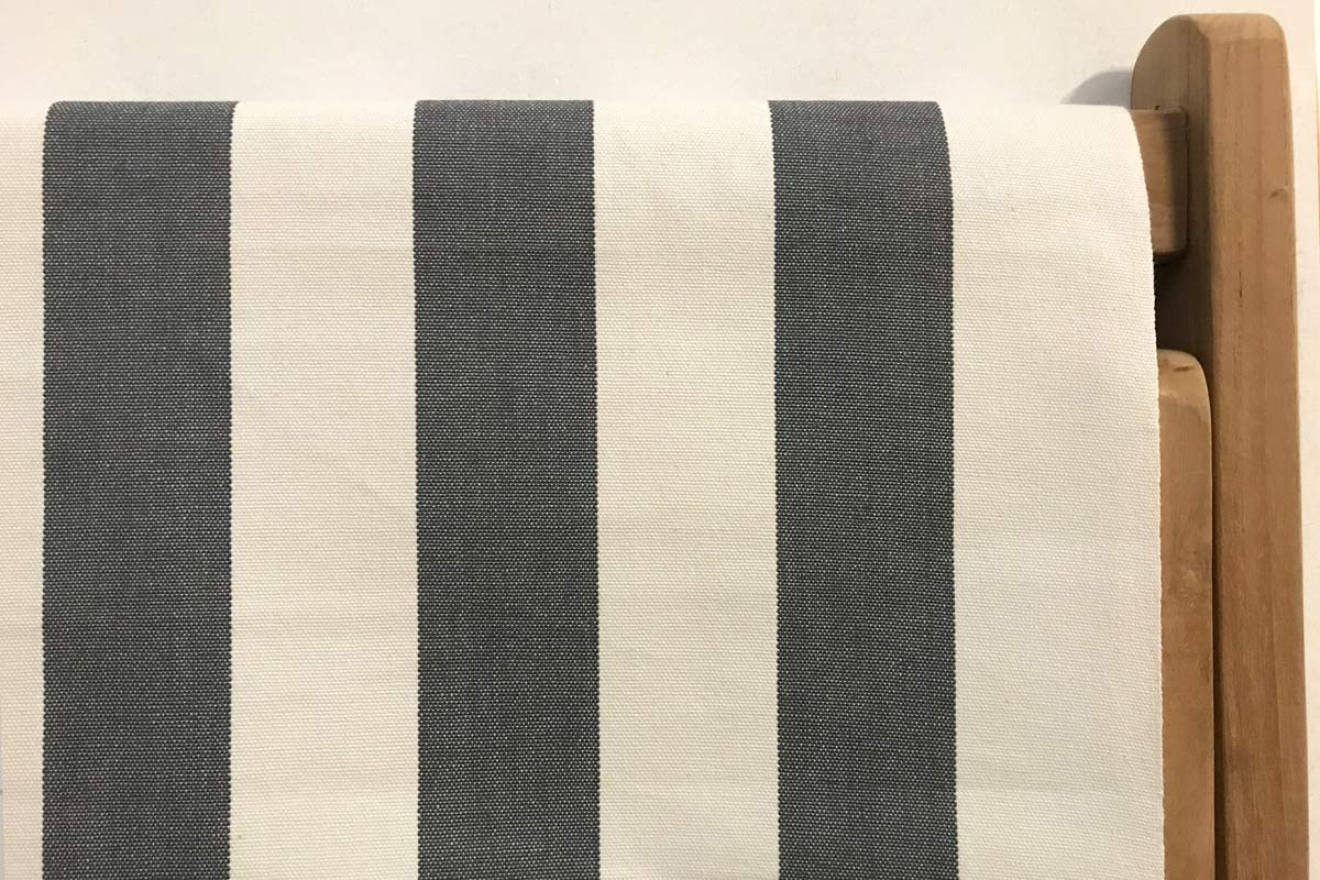 charcoal, white- Classic Striped Deckchair Canvas Fabric - Thick Weave