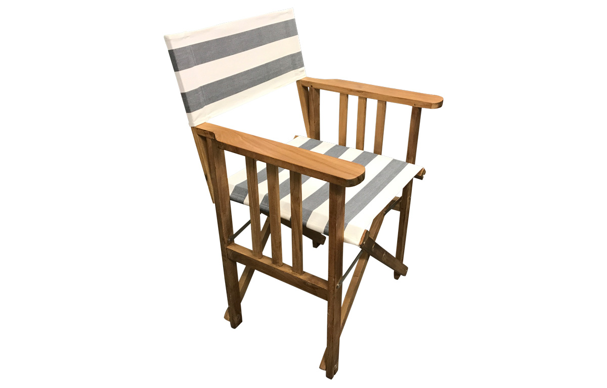 Grey and White Stripe Directors Chairs