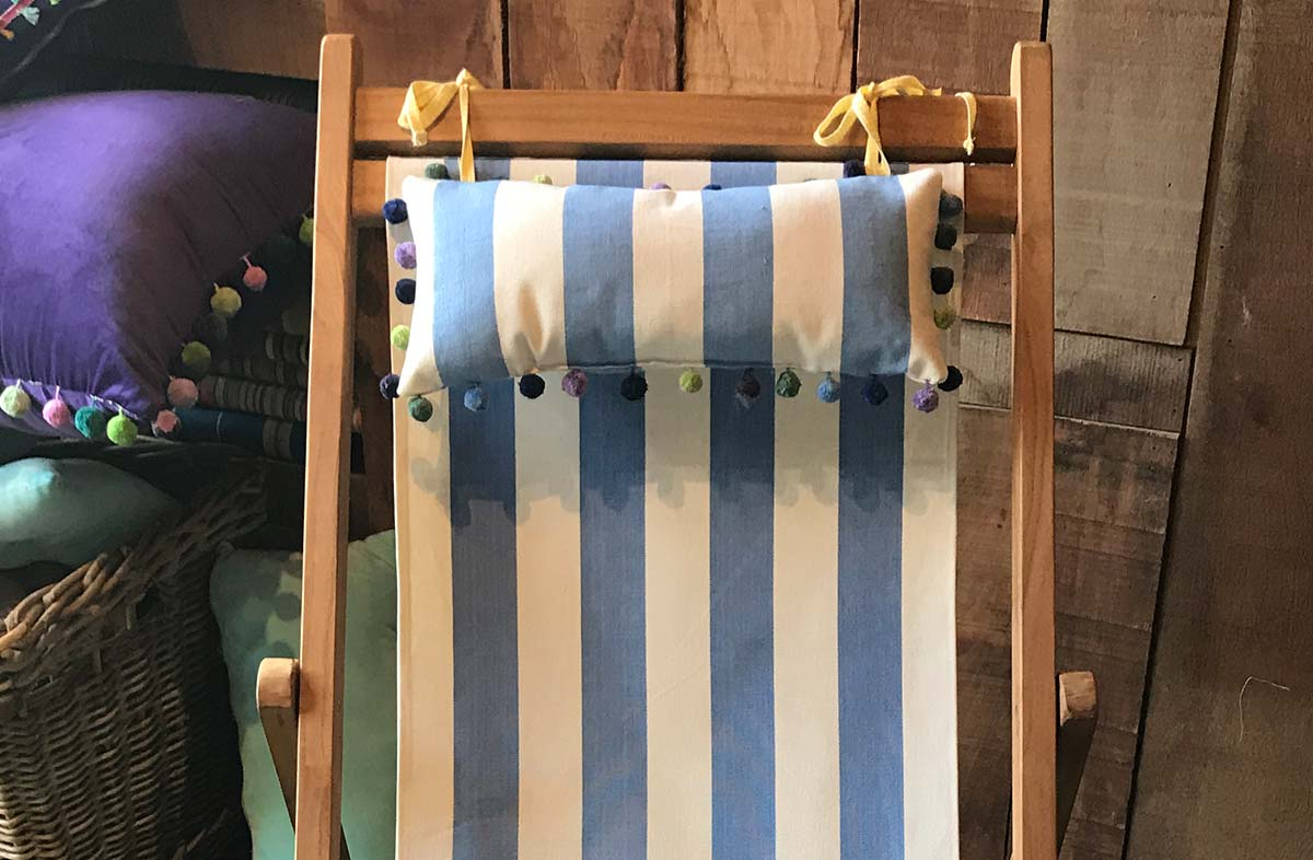 Sky Blue and White Stripe Deckchair Headrest Cushions | Tie on Pompom Headrest Pillow