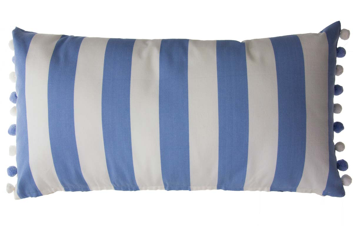 Sky blue and white Striped Oblong Cushions with Bobble Fringe