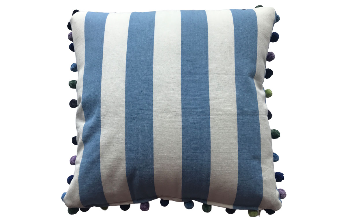 50x50cm Sky Blue and White Striped Pompom Cushions