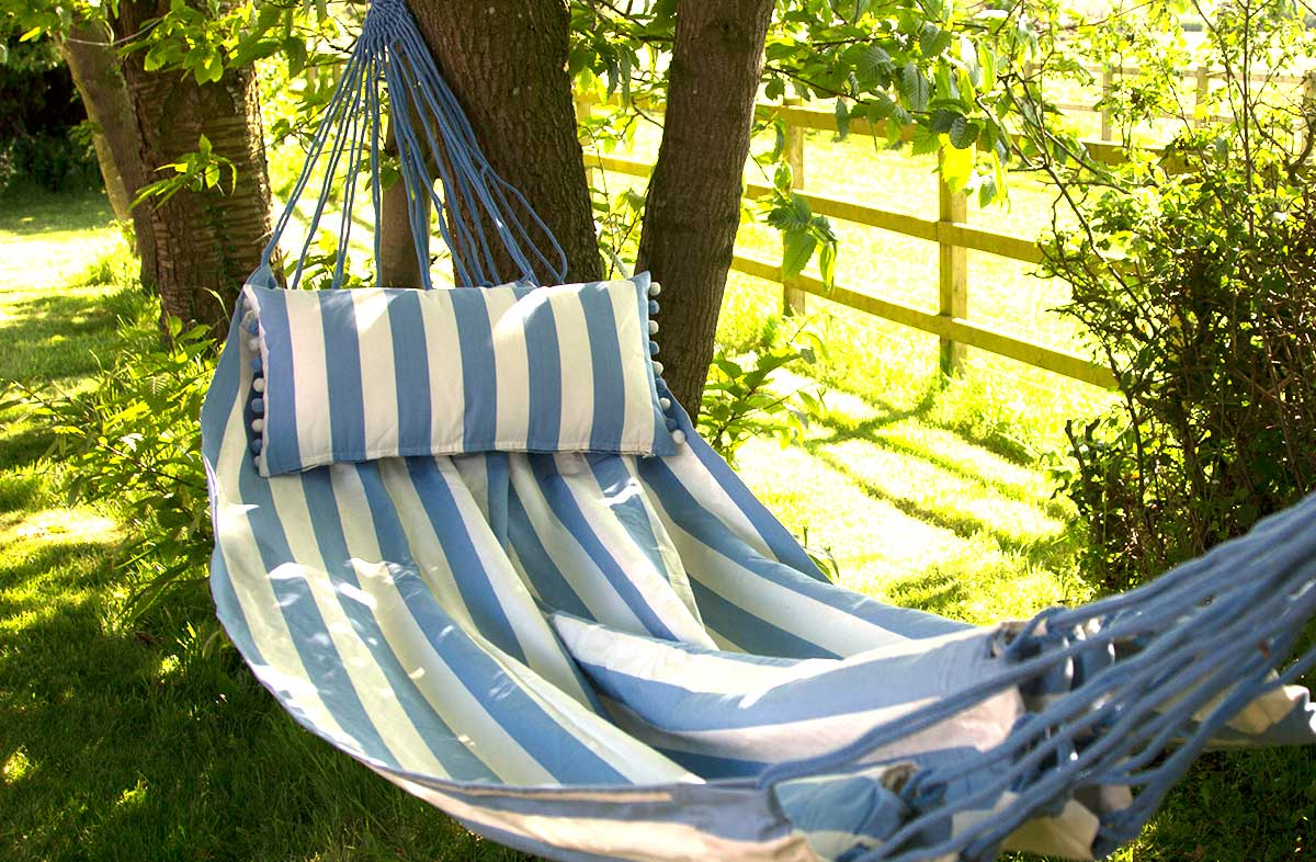 Sky Blue and White Striped Hammocks