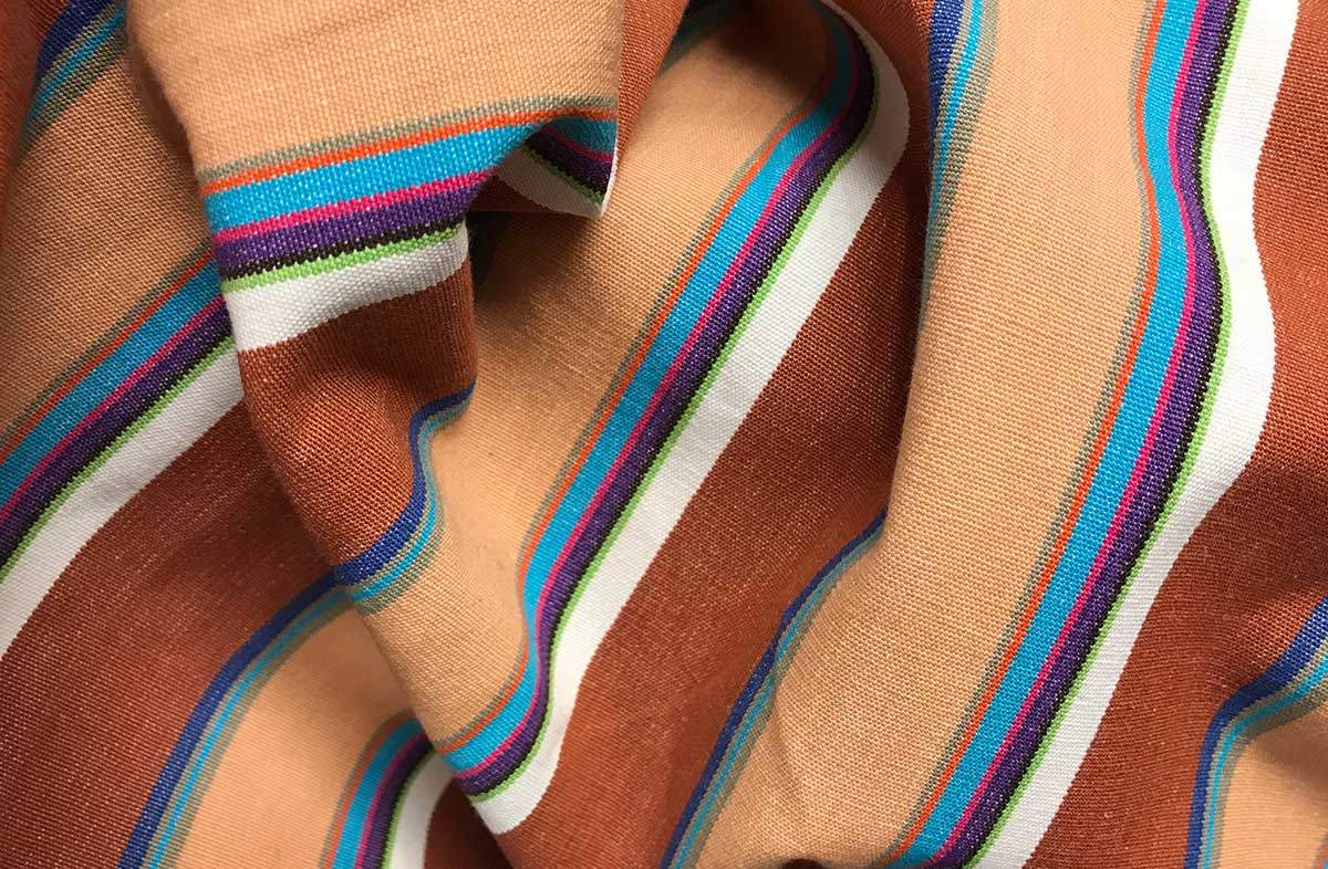 Chestnut and Peach Striped Fabric