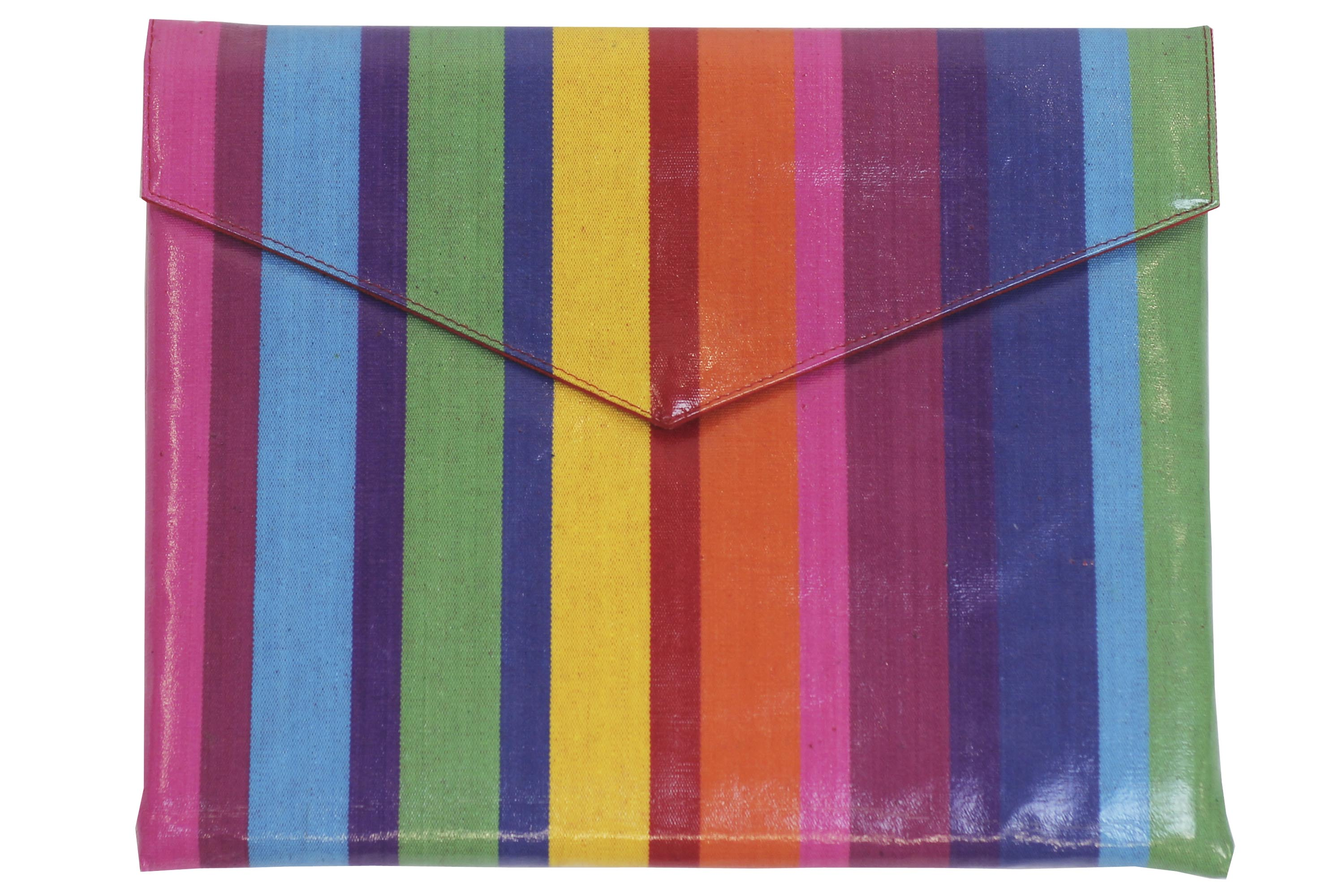 Multi Colour Rainbow Striped PVC Clutch Bags Large