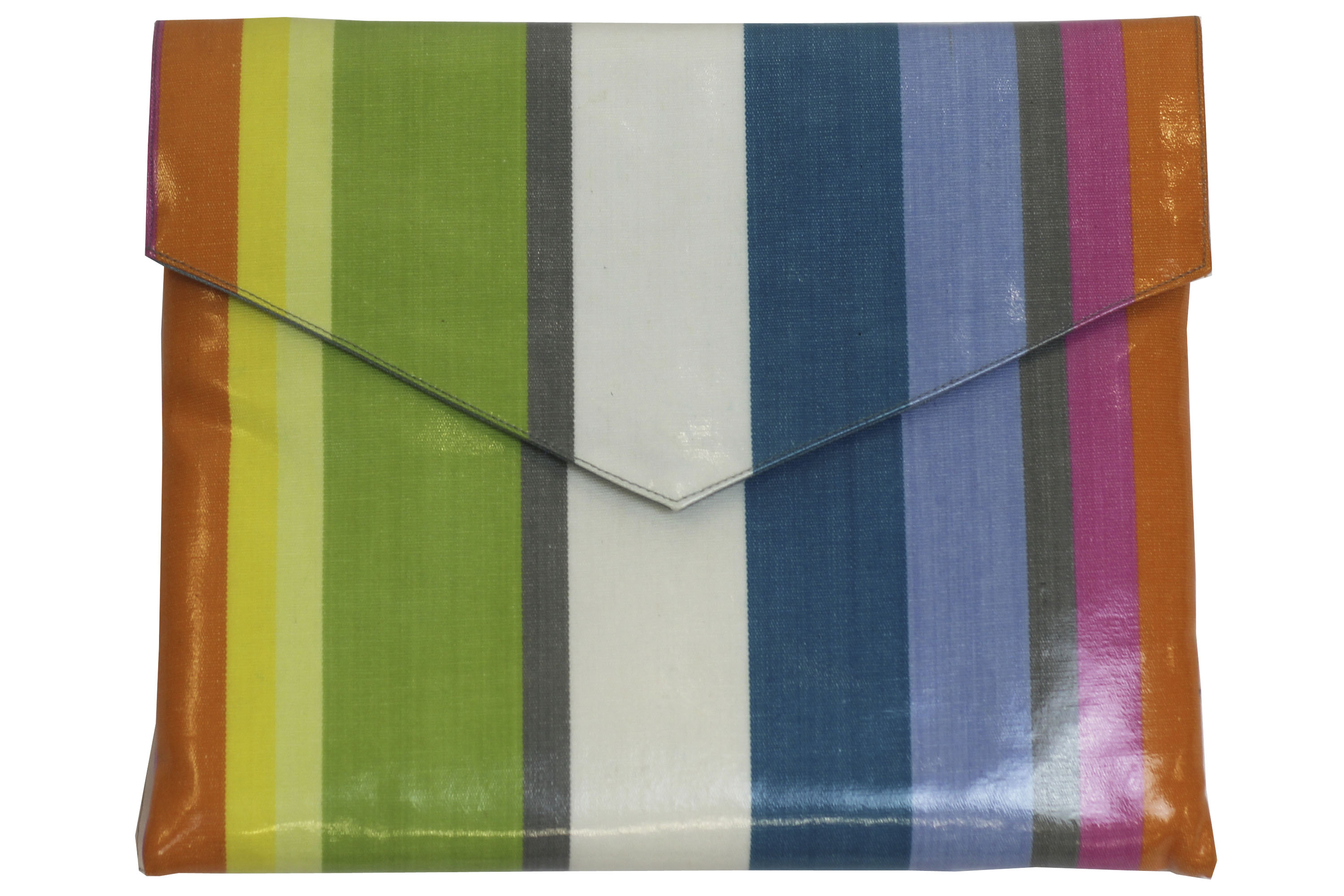 Pastel Stripe PVC Clutch Bags Large