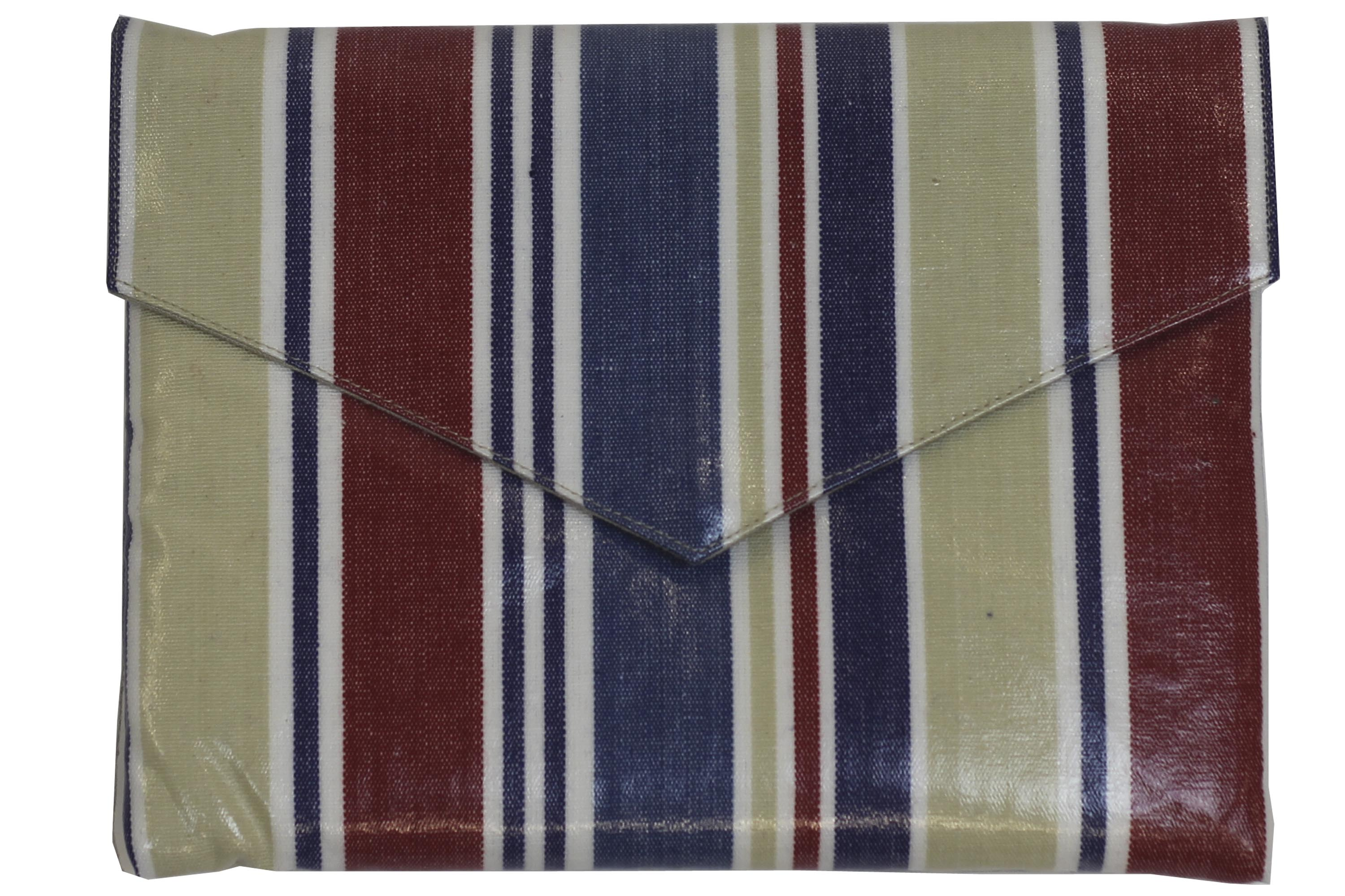Small PVC Clutch Bags - Red, Blue, Beige and White Stripe iPad Mini Bag