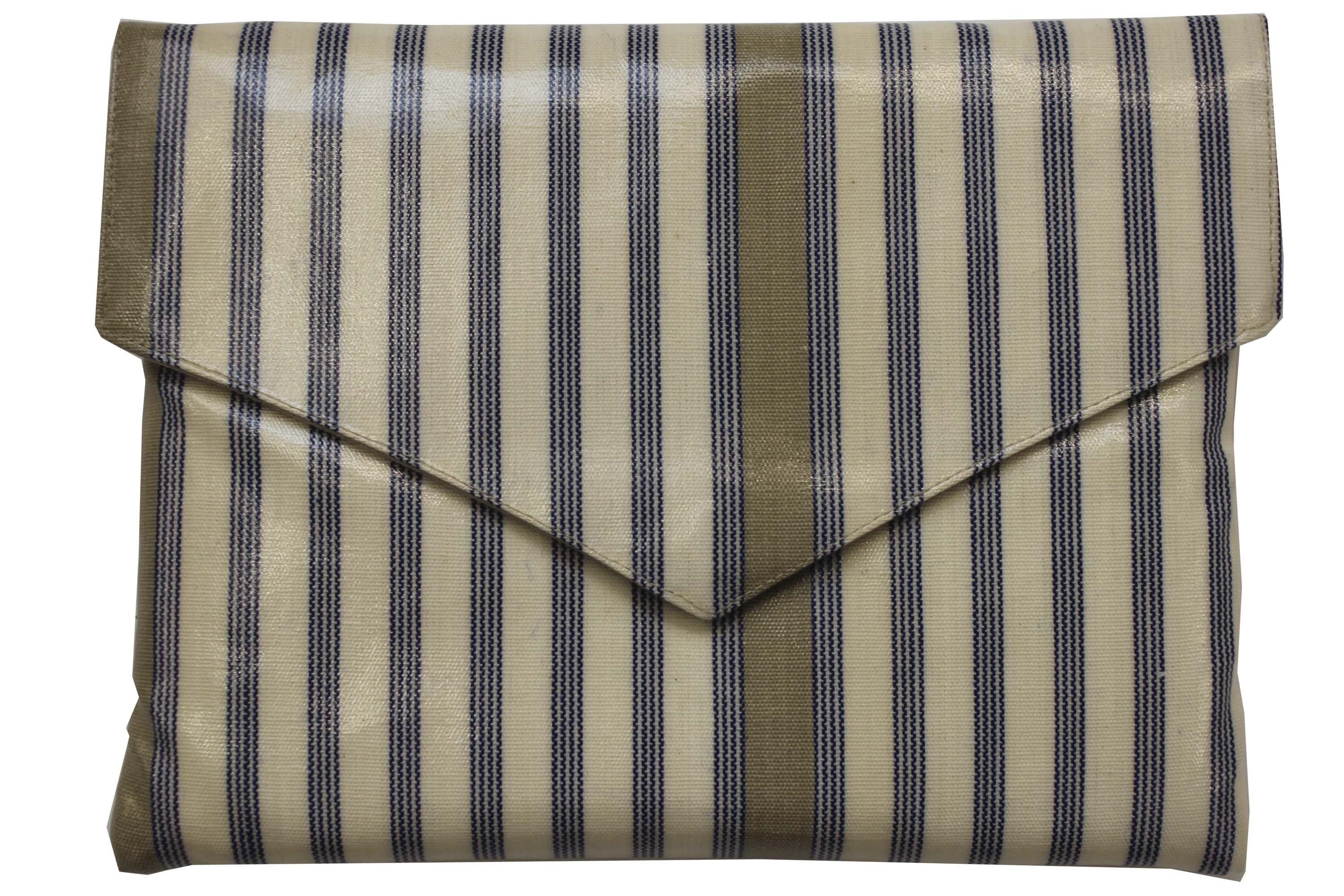 Cream  Small PVC Clutch Bags Quoits Stripe