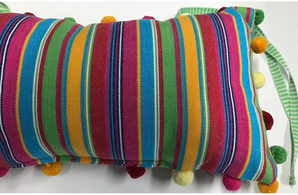 Deckchair Headrest Cushions | Tie on Pompom Headrest Pillows Pillows pink, green, yellow