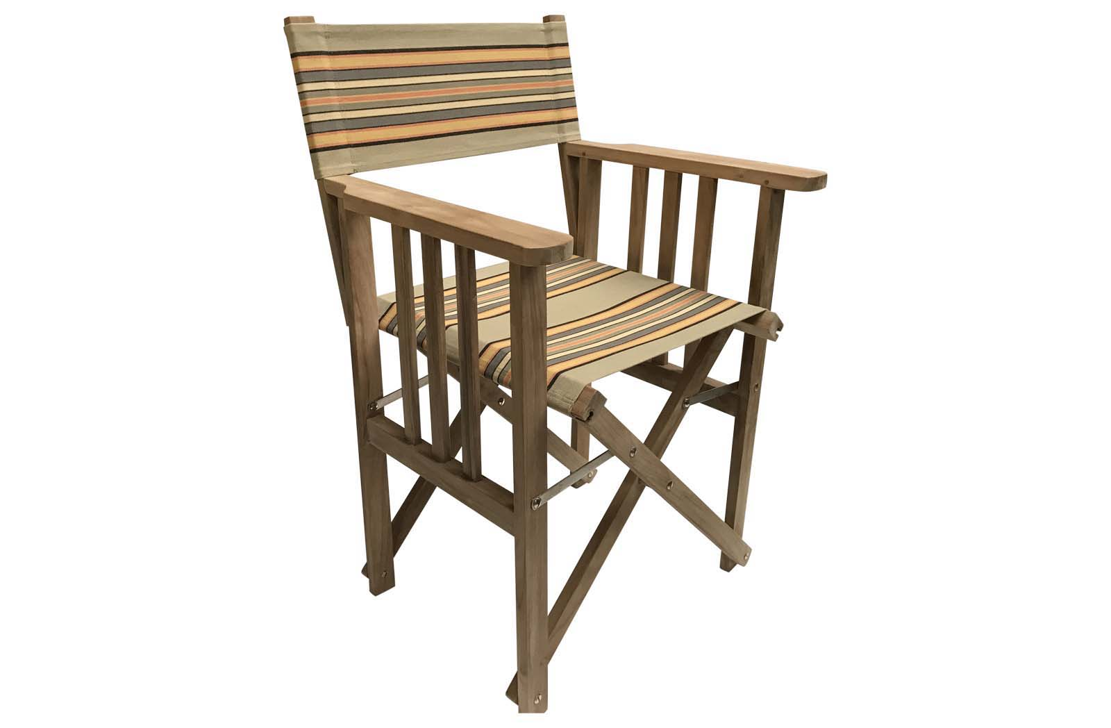 Teak Directors Chair - Kickball Stripe