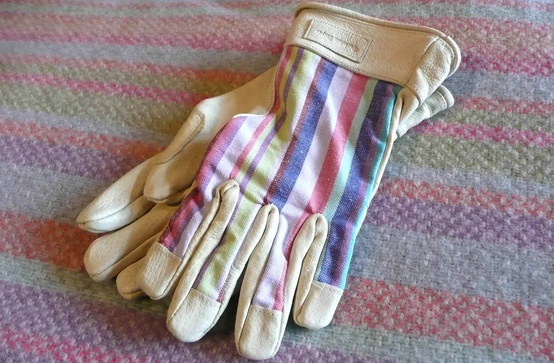 Ladies Striped Garden Gloves S/M