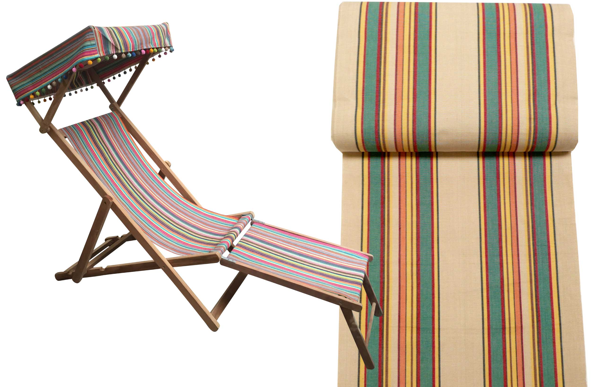 Delicieux Edwardian Deckchair With Canopy And Footstool Beige, Jade Green, Red Stripes
