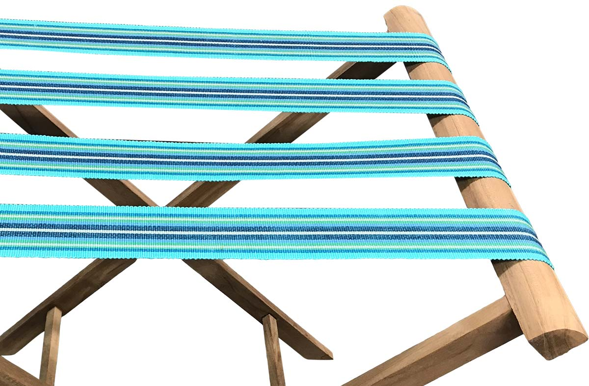 Turquoise Folding Luggage Racks with Striped Webbing Fencing Stripes