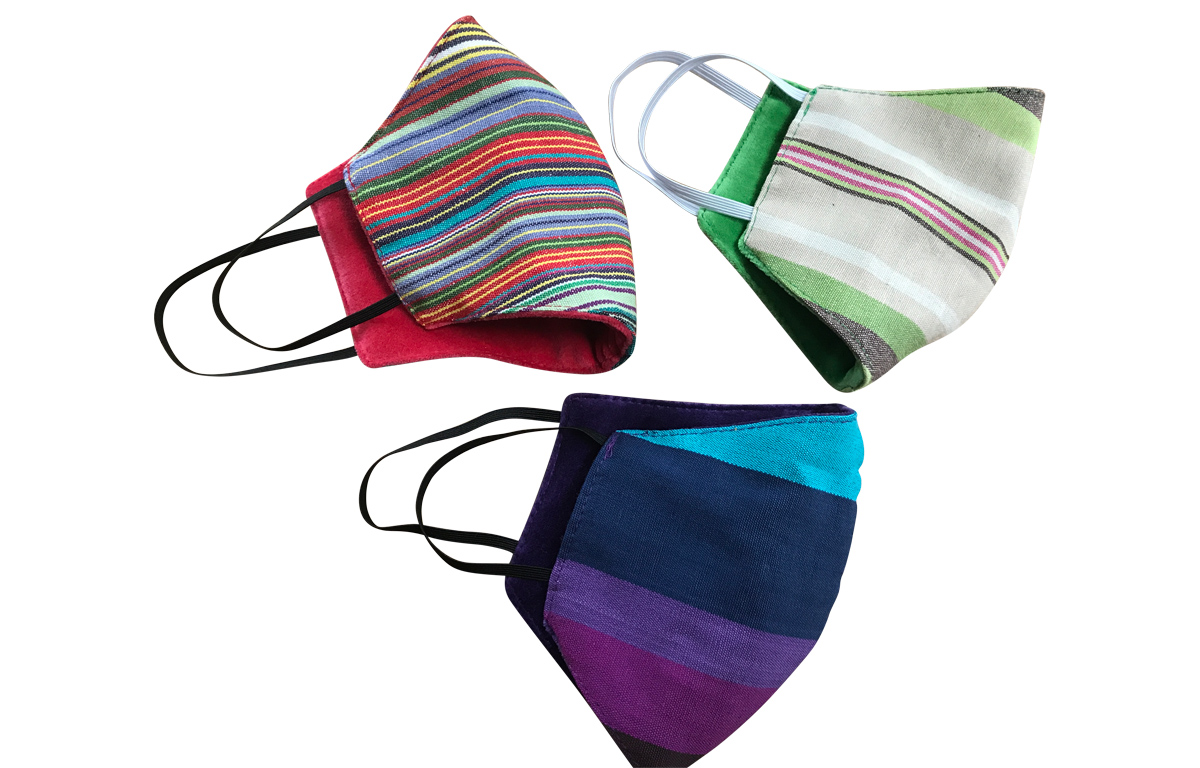 Reversible Face Coverings in Stripes and Velvet by The Stripes Company