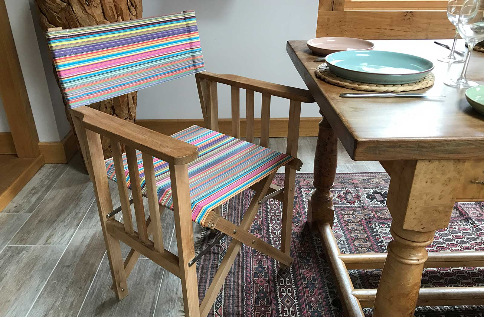 Teak Directors Chair - Mahjong Rainbow Stripes