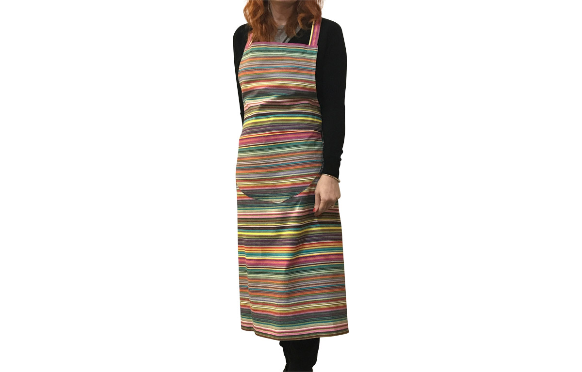 Multi Striped Apron thin rainbow multi stripes