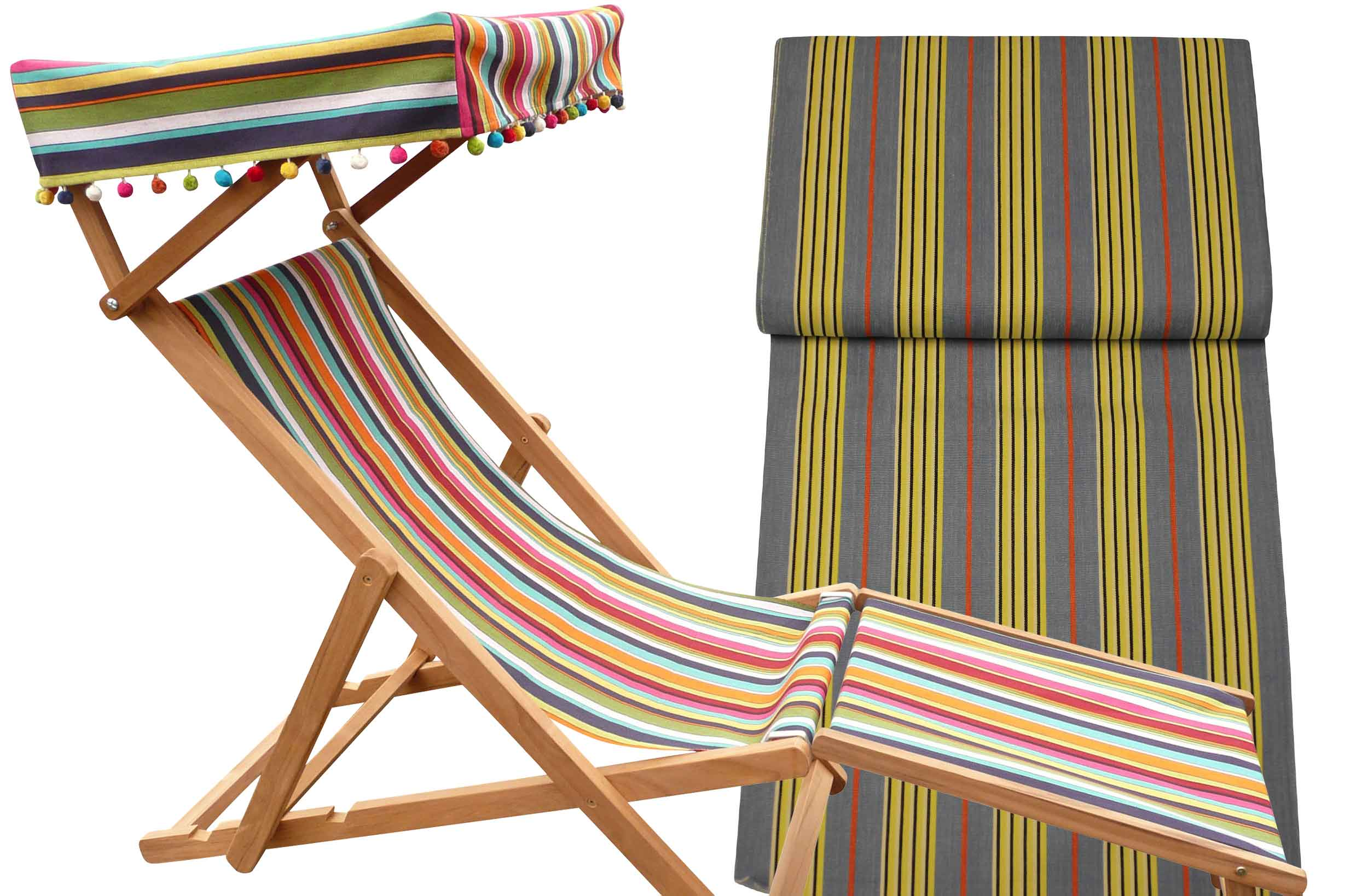 Edwardian Deckchairs with Canopy and Footstool sky blue, lemon, black