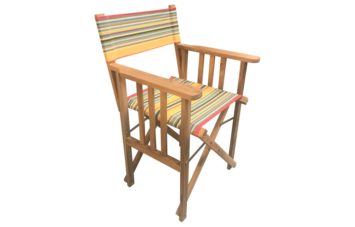 Directors Chair with striped covers in a medley of sunny colours